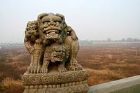 the stone lions of Lugou Bridge in Beijing
