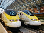 Eurostar trains in St  Pancras Station, London