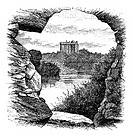 Blarney Castle, Blarney, Cork, Ireland, vintage engraving in 1890s  Old engraved illustration of Blarney Castle, County Cork, Ireland, 1890s