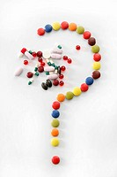 Candy sweets question mark isolated over white