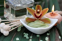 Spa setting with orchid