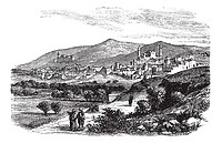 Beautiful view of buildings and mountain at Hebron vintage engraving  Old engraved illustration of buildings and mountain slope at Hebron, 1800s