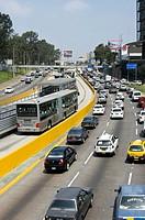 Perú. Lima city. San Isidro. Financial district. Expressway. New Metropolitan transport.