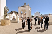 Basilica of Our Lady of Copacabana area. Copacabana is the main Bolivian town on the shore of Lake Titicaca.  Our Lady of Copacabana is the patron sai...