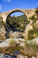 Bridge over Llierca River - 14th Century -, between Sadernes and Montagut villages, La Garrotxa, Girona, Spain