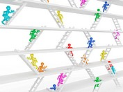Way up. People and ladders on white isolated background. 3d