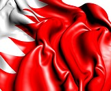 Flag of Bahrain against white background. Close up.