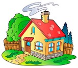 Small family house _ color illustration.