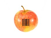 An apple with a barcode isolated against a white background