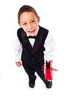 boy holding gift