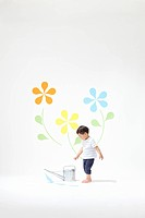 Boy Watering Plants