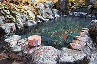 Japanese_style hot spring in autumn