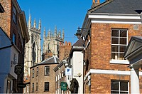 England, North Yorkshire, York. View of York Minster from Low Petergate.