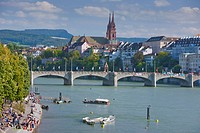Bridge, river, flow, water, town, city, water, canton, Basel, Switzerland, Europe, town, city, Rhine shore, Rhine, people, bridge, Münster