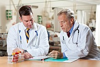 Two doctors reading medical document in hospital