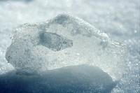 Iced snow detail macro, back light