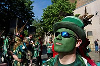 England, Kent, Rochester. A morris dancer from Green Dragon Morris at the annual Sweeps Festival in Rochester.