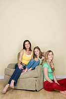 Portrait of mother with two daughters 8_9, 14_15