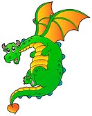 Flying fairy tale dragon _ isolated illustration.