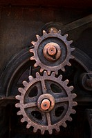 Rusty cogs in an old piece of machinery
