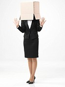 Business woman with box on heads