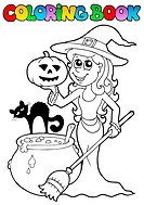 Coloring book Halloween topic 2 _ thematic illustration.
