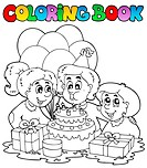 Coloring book with party theme 2 _ thematic illustration.