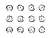 A wall of analogue clocks set against a white background