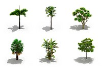 3d trees pack with shadows