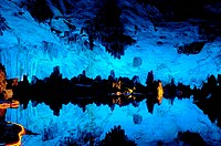 Reed flute cave underground scene in Guilin