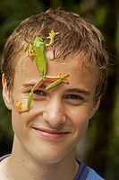 Boy with Gliding leaf frog Agalychnis spurrelli - Costa Rica - tropical rainforest