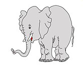 vector drawing elephant on white background