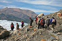 Tourists hiking to the Perito Moreno glacier in the Los Glaciares National Park, Patagonia, Argentina