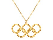 Gold olympic rings pendant on chain