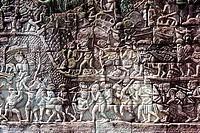 Sculpture in Bayon temple, Angkor, Cambodia