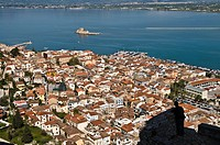 Looking down on the old town of Nafplio and across the Argolikos Gulf, from the steps leading up to the Palamidihi fortress  Argolid, Peloponnese, Gre...
