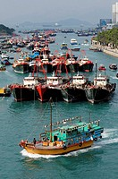 ships moored in Aberdeen Harbour, Hong Kong