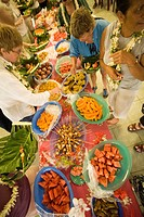 Feast, Aitu Island, Cook Islands, Polynesia