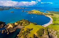 Aerial view of a serene cove in Waikare Inlet, the Bay of Islands in the Northland region of the north island of New Zealand