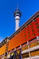 The Sky City entertainment complex with the Sky Tower tallest free-standing structure in the Southern Hemisphere above, Central Business District, Auc...