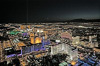 Aerial tour, Las Vegas at night, Nevada, USA
