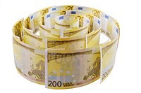 Spiral of 200 euro banknotes on the white background