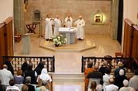 Mass in Carmel du Reposoir monastery, Le Reposoir, Haute_Savoie, France, Europe