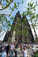 People in front of Cologne Cathedral, North Rhine-Westphalia, Germany
