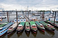 Small tour boats, Hamburg harbor, Germany