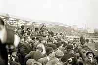 BASEBALL: PLAYOFF, 1908. Crowds attending the one_game playoff between the New York Giants and the Chicago Cubs at the Polo Grounds in New York City, ...