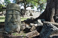 Sculpted head stone at Mayan archeological site, Copan Ruins, UNESCO World Heritage Site, Honduras, Central America