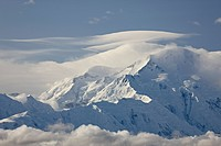 Mount McKinley among clouds, Denali National Park and Preserve, Alaska, United States of America, North America