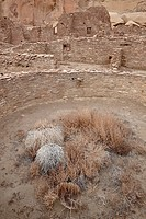 Kiva and other structures at Pueblo Bonito, Chaco Culture National Historic Park, UNESCO World Heritage Site, New Mexico, United States of America, No...