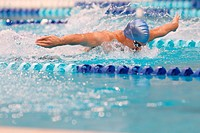 Young Man Swimming, Butterfly Stroke